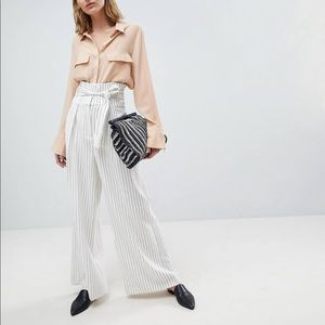 Women's ASOS Tall:  Wide-Leg Pinstripe Pants